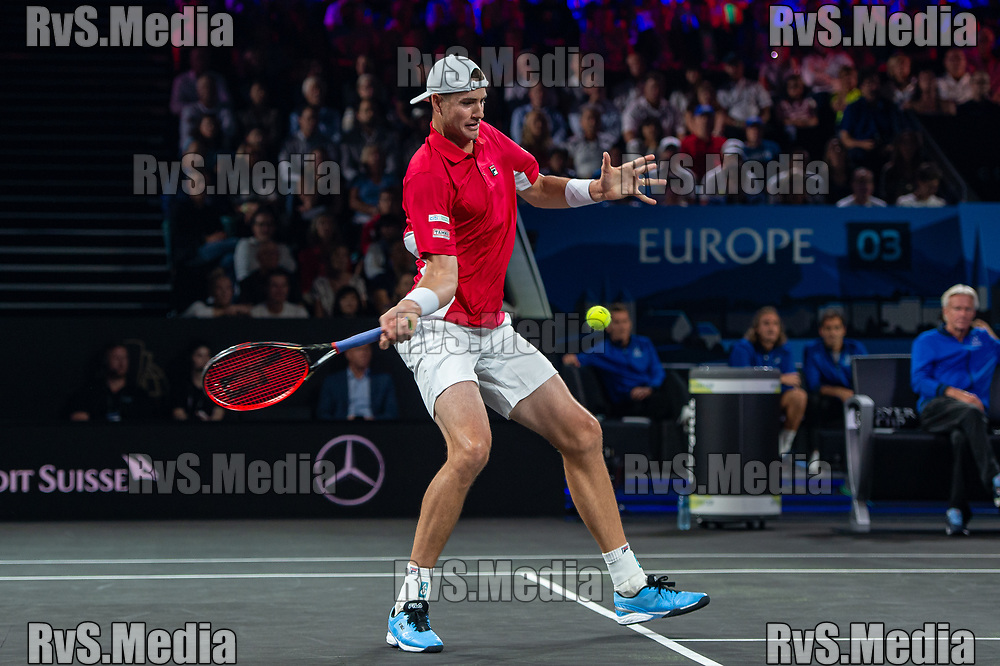 GENEVA, SWITZERLAND - SEPTEMBER 21: John Isner of Team World plays a forehand during Day 2 of the Laver Cup 2019 at Palexpo on September 21, 2019 in Geneva, Switzerland. The Laver Cup will see six players from the rest of the World competing against their counterparts from Europe. Team World is captained by John McEnroe and Team Europe is captained by Bjorn Borg. The tournament runs from September 20-22. (Photo by Monika Majer/RvS.Media)