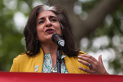 London, UK. 1st May, 2019. Farhana Yamin, climate change lawyer and Extinction Rebellion activist, addresses climate protesters at a Declare A Climate Emergency Now demonstration in Parliament Square organised to coincide with a motion in the House of Commons to declare an environment and climate emergency tabled by Leader of the Opposition Jeremy Corbyn. The motion, which does not legally compel the Government to act, was passed without a vote.