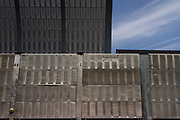 Metal sound-proofing walls on the Tomei Expressway in Tokyo, Japan. Sunday May 5th 2019