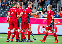 ANTWERP - BELFIUS EUROHOCKEY Championship  .  Spain v Wales (5-1). Gareth Furlong (Wales) (l) scored and celebrates with Jacob Draper (Wales).   WSP/ KOEN SUYK