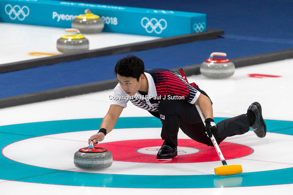 Lee Ki-jeong  (KOR) competing in the Mixed Doubles Curling round robin at the Olympic Winter Games PyeongChang 2018