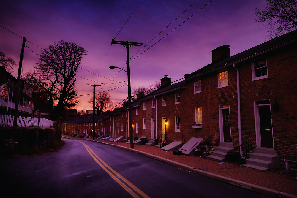 Pink sunrise over Oella, Maryland.