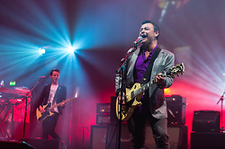 © Licensed to London News Pictures. 11/04/2014. London, UK.   Manic Street Preachers performing live at Brixton Academy.  In this picture - James Dean Bradfield (right).  Manic Street Preachers are a Welsh alternative rock band consisting of James Dean Bradfield (lead vocals, lead guitar), Nicky Wire (bass guitar, lyrics) and Sean Moore (drums).  Photo credit : Richard Isaac/LNP