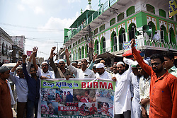 September 8, 2017 - Allahabad, Uttar Pradesh, India - Allahabad: All India Majlis-e-Ittehadul Muslimeen (AIMIM) supporters protest over the persecution of Myanmar's Rohingya Muslim community in Allahabad, India on September 8, 2017. The U.N. refugee agency has said that 270,000 Rohingya refugees have fled Myanmar into Bangladesh. (Credit Image: © Prabhat Kumar Verma via ZUMA Wire)