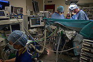 Consultant cardiac surgeon Conal Austin (right) and a colleague performing an operation on 10-day-old Finn Jones in a theatre at Evelina London Children's Hospital in central London ready in reparation for an operation on 10-day-old Finn Jones. Finn was born with a pre-diagnosed condition which required a life-saving, five-hour heart 'switch' operation to be carried out within the first two weeks of his life. The operation, which took place when Finn was 10 days old was successful, however, due to other near fatal complications the his recovery during the subsequent six weeks was slow and difficult.