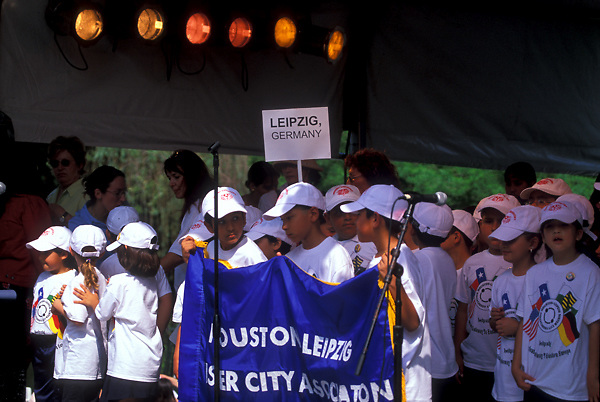Stock photo of children representing Leipzig Germany at the International Festival in downtown Houston Texas
