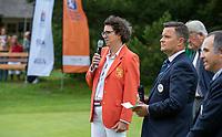HILVERSUM - Caroline Huyskes , president NGF.  and Haukur Örn Birgisson (EGA) .    ELTK Golf 2020 The Dutch Golf Federation (NGF), The European Golf Federation (EGA) and the Hilversumsche Golf Club will organize Team European Championships for men.  COPYRIGHT KOEN SUYK