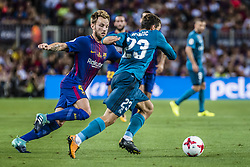 August 13, 2017 - Barcelona, Catalonia, Spain - FC Barcelona midfielder I. RAKITIC competes with Real Madrid midfielder KOVACIC for the ball during the Spanish Super Cup Final 1st leg between FC Barcelona and Real Madrid at the Camp Nou stadium in Barcelona (Credit Image: © Matthias Oesterle via ZUMA Wire)
