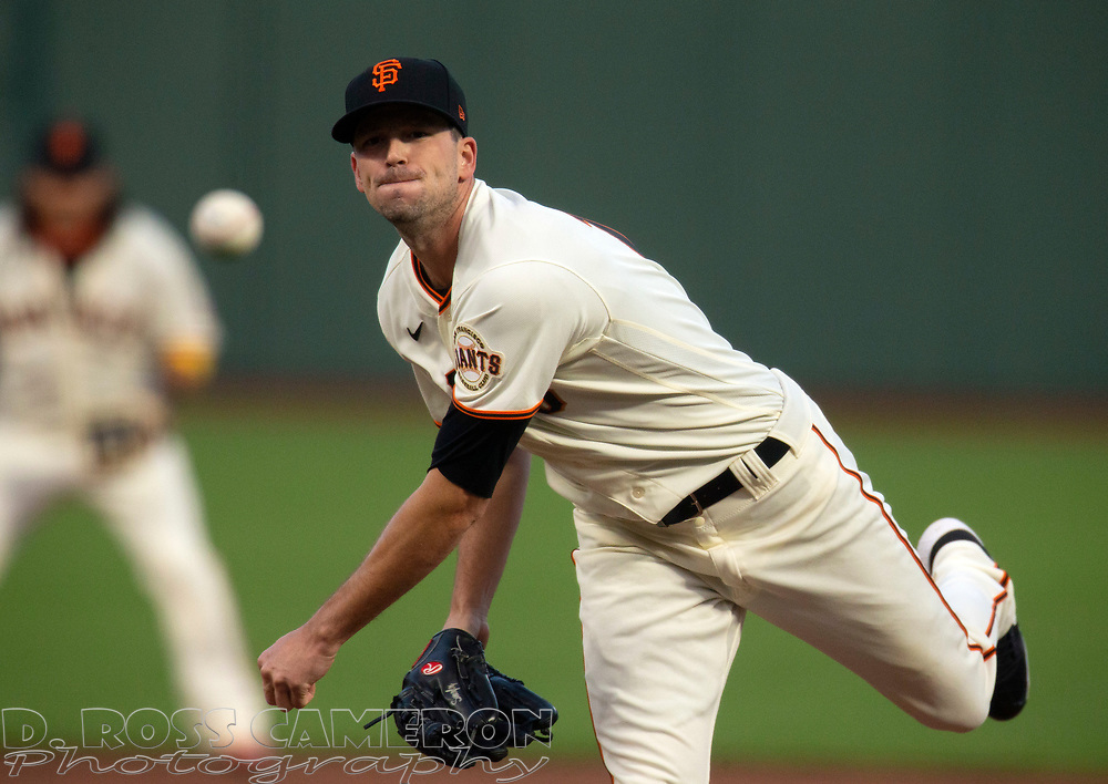 Sep 16, 2020; San Francisco, CA, USA; San Francisco Giants starting pitcher Drew Smyly (18) delivers a pitch against the Seattle Mariners during the first inning of a baseball game at Oracle Park. Mandatory Credit: D. Ross Cameron-USA TODAY Sports