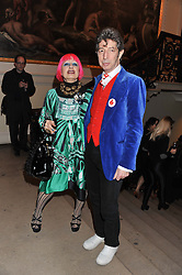 ZANDRA RHODES and DUGGIE FIELDS at a private view to celebrate the opening of the Royal Academy's exhibition of work by David Hockney held at The Royal Academy, Burlington House, Piccadilly, London on 17th January 2012.