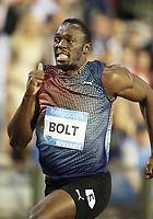 Friidrett<br /> 06.09.2013<br /> Foto: imago/Digitalsport<br /> NORWAY ONLY<br /> <br /> Brüssel Belgien, Leichtathletik, Athletics, Track and Field, IAAF Diamond League Brussels 2013, Ivo van Damme Memorial, 06.09.2013 , Brüssel, Usain Bolt, Jamaika, 100m Männer