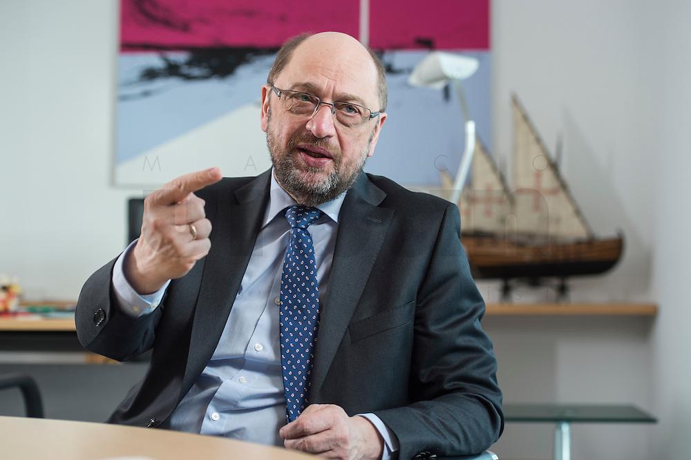 27 FEB 2017, BERLIN/GERMANY:<br /> Martin Schulz, SPD, desig. Parteivorsitzender und Kanzlerkandidat, waehrend einem Interview, in seinem Beuro, Willy-Brandt-Haus<br /> IMAGE: 20170227-01-033
