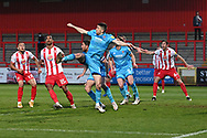 Cheltenham Town Defender Sean Long(2) clears there ball during the EFL Sky Bet League 2 match between Stevenage and Cheltenham Town at the Lamex Stadium, Stevenage, England on 20 April 2021.
