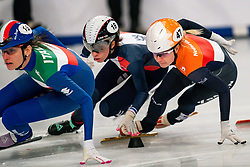Short tracker Yara van Kerkhof in action on the 1500 meter semifinals during ISU European Short Track Speed Skating Championships 2020 on January 25, 2020 in Fonix Hall, Debrecen, Hungary