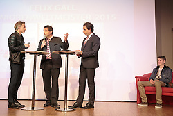 02.10.2015, Nussdorf Gebannt, AUT, Empfang für UCI Juniorenweltmeister Felix Gall, im Bild Moderator Thomas Pupp, BGM Ing. Andreas Pfurner, Franz Theurl (Obmann TVB Osttirol), UCI Juniorenweltmeister Felix Gall // during the official reception for the UCI Junior World Champion Felix Gall in his home town. Nussdorf Decant, Austria on 2015/10/02. EXPA Pictures © 2015, PhotoCredit: EXPA/ Johann Groder