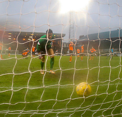 Dundee United's Eiji Kawashima after Dundee's Nick Ross scoring their second goal. <br /> Dundee 2 v 1  Dundee United, SPFL Ladbrokes Premiership game played 2/1/2016 at Dens Park.