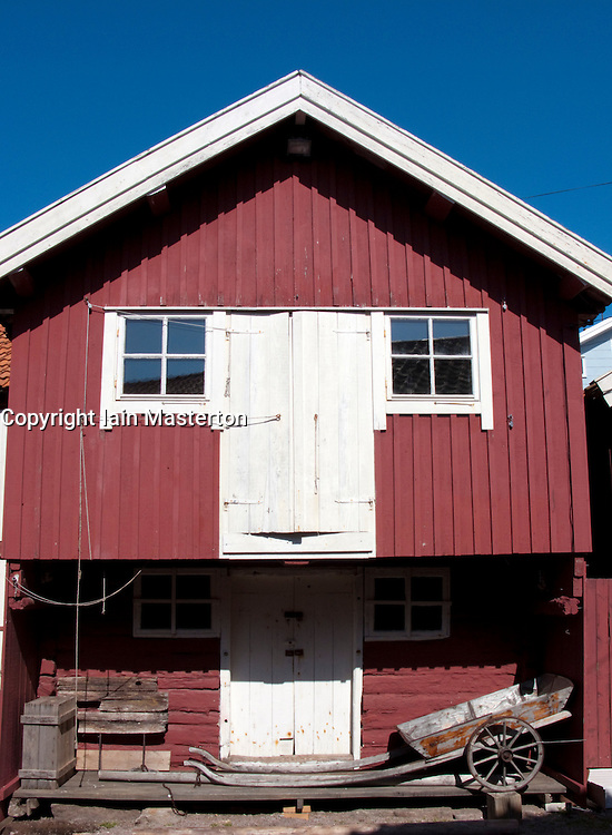 Traditional red wooden buildings in village of Smogen on Swedens Bohuslan coast