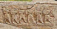 Pictures & Images Hittite relief sculpted orthostat panels of the Sphinx Gate. Panel depicts a procession. Alaca Hoyuk (Alacahoyuk) Hittite archaeological site  Alaca, Çorum Province, Turkey, Also known as Alacahüyük, Aladja-Hoyuk, Euyuk, or Evuk .<br /> <br /> If you prefer to buy from our ALAMY PHOTO LIBRARY  Collection visit : https://www.alamy.com/portfolio/paul-williams-funkystock/alaca-hoyuk-hittite-site.html<br /> <br /> Visit our TURKEY PHOTO COLLECTIONS for more photos to download or buy as wall art prints https://funkystock.photoshelter.com/gallery-collection/3f-Pictures-of-Turkey-Turkey-Photos-Images-Fotos/C0000U.hJWkZxAbg