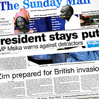 Harare, Zimbabwe 18 November 2007<br /> Propaganda and manipulation. The government controls directly and indirectly all media, except for some weekly editions. <br /> The Sunday Mail puts in cover the support of the vice-president to the candidacy of Mugabe for next March elections and presents the alleged plans by Britain to invade the country.<br /> Photo: Ezequiel Scagnetti