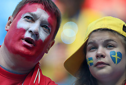 SAINT PETERSBURG, July 3, 2018  Fans are seen prior to the 2018 FIFA World Cup round of 16 match between Switzerland and Sweden in Saint Petersburg, Russia, July 3, 2018. (Credit Image: © Yang Lei/Xinhua via ZUMA Wire)