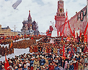Red army parade, Moscow,  1923. After the painting by Konstantin Youon. Russian.