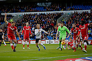 Kenwyne Jones of Cardiff (far right) clears the ball after a goalmouth scramble. Skybet football league championship match, Cardiff city v Rotherham Utd at the Cardiff city stadium in Cardiff, South Wales on Saturday 6th December 2014<br /> pic by Mark Hawkins, Andrew Orchard sports photography.