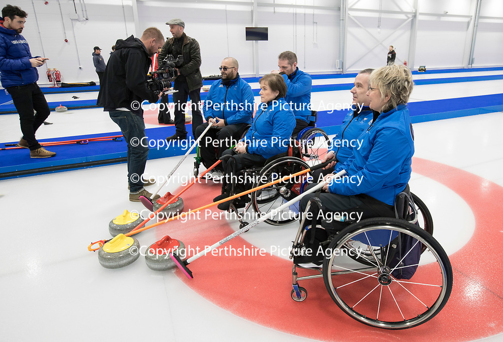 ParalympicsGB Select Five Wheelchair Curlers for PyeongChang2018….10.1.18<br />The five curlers pictured at the National Curling Academy in Stirling, from left Gregor Ewan, Hugh Nibloe, Skip Aileen Neilson, Bobby McPherson and Angie Malone MBE<br />Picture by Graeme Hart.<br />Copyright Perthshire Picture Agency<br />Tel: 01738 623350  Mobile: 07990 594431