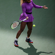 2019 US Open Tennis Tournament- Day Seven.  Serena Williams of the United States during warm up against Petra Martic of Croatia in the Women's Singles round four match on Arthur Ashe Stadium during the 2019 US Open Tennis Tournament at the USTA Billie Jean King National Tennis Center on September 1st, 2019 in Flushing, Queens, New York City.  (Photo by Tim Clayton/Corbis via Getty Images)