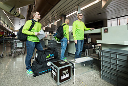 Jure Ferjanic, Dejan Kontrec and Milan Dragan during departure of Slovenia Olympic Team for PyeongChang 2018, on February 6, 2018 in Airport Joze Pucnik, Brnik, Slovenia. Photo by Morgan Kristan / Sportida