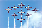 All nine Snowbirds in a flight demonstration