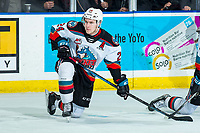 KELOWNA, BC - FEBRUARY 15: Kyle Topping #24 of the Kelowna Rockets kneels on the ice during warm up against the Red Deer Rebels at Prospera Place on February 15, 2020 in Kelowna, Canada. (Photo by Marissa Baecker/Shoot the Breeze)