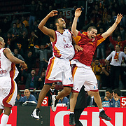 Galatasaray Cafe Crown's Joshua Ian SHIPP (C) celebrate victory during their ULEB Eurocup Quarterfinals last 16 group K game 3 basketball match Galatasaray between CEZ Nymburk at the Abdi Ipekci Arena in Istanbul at Turkey on Tuesday, February, 01, 2011. Photo by TURKPIX