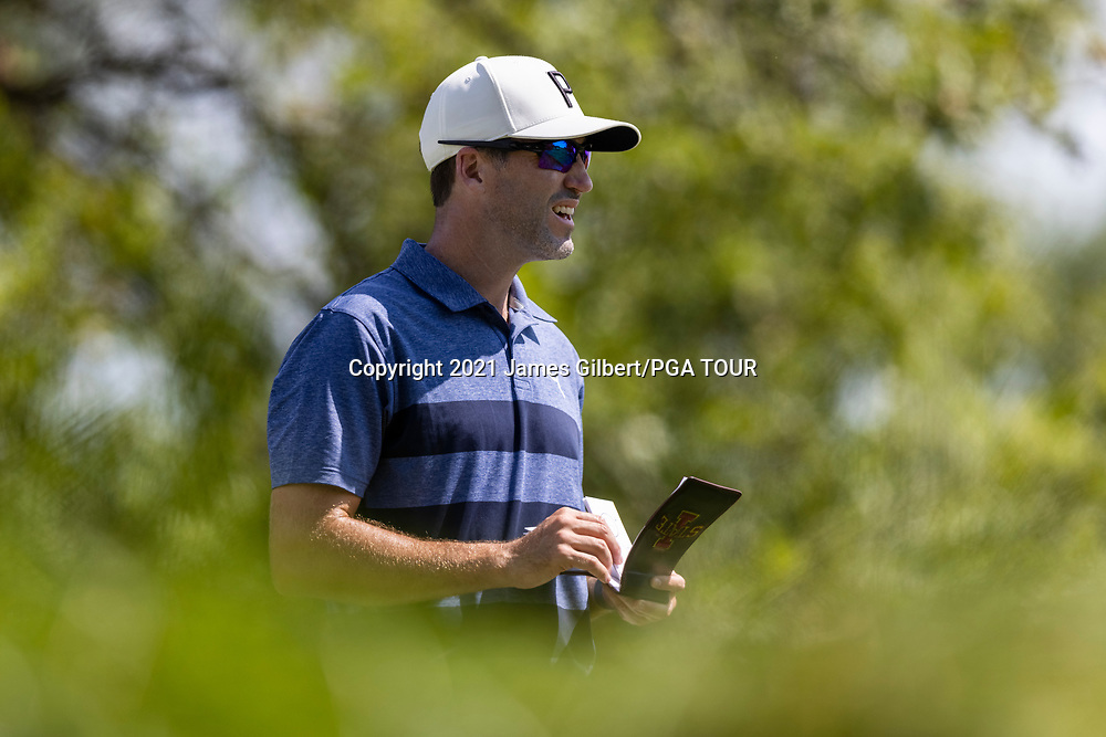 NEWBURGH, IN - SEPTEMBER 03: Chris Baker looks on from the 17th tee during the second round of the Korn Ferry Tour Championship presented by United Leasing and Financing at Victoria National Golf Club on September 3, 2021 in Newburgh, Indiana. (Photo by James Gilbert/PGA TOUR via Getty Images)