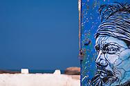 Grafitti of jimmy Hendricks drawn on a door, Essaouira, Morocco