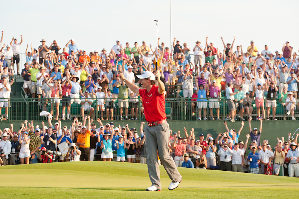 KIAWAH ISLAND, SC - AUGUST 12:  Rory McIlroy of Northern Ireland celebrates the winning putt at the 18th hole during the final round of the 2012 PGA Championship at The Ocean Course on Kiawah Island, South Carolina on August 12, 2012. (Photograph ©2012 Darren Carroll) *** Local Caption *** Rory McIlroy