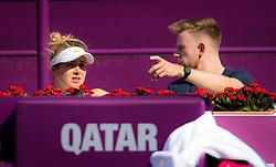 February 13, 2019 - Doha, QATAR - Elina Svitolina of the Ukraine talks to coach Andrew Bettles at the 2019 Qatar Total Open WTA Premier tennis tournament (Credit Image: © AFP7 via ZUMA Wire)