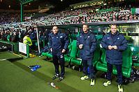 UEFA Europa League 2015: Celtic - Molde. Moldes trener Erling Moe (t.h.) i Europa League kampen mellom Celtic og Molde på Celtic Park.