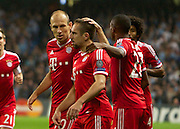 02.10.2013 Manchester, England.  Bayern Munich goalscorer Franck Ribery celebrates making it 1-0  with Arjen Robben during the Group D UEFA Champions League game between, Manchester City and Bayern Munich from the Etihad Stadium.