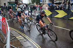 Lisa Brennauer (GER) of CANYON//SRAM Racing leans into a corner on Trafalgar Square during the Prudential Ride London Classique - a 66 km road race, starting and finishing in London on July 29, 2017, in London, United Kingdom. (Photo by Balint Hamvas/Velofocus.com)