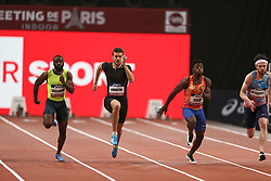 February 7, 2018 - Paris, Ile-de-France, France - From left to right : Sean Safo Antwi of Gana, Christophe Lemaitre of France, Gue-arthur Cisse of Ivory Coast, Kyle De Escofet of Great Britain compete in 60m during the Athletics Indoor Meeting of Paris 2018, at AccorHotels Arena (Bercy) in Paris, France on February 7, 2018. (Credit Image: © Michel Stoupak/NurPhoto via ZUMA Press)