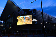Video advertising billboard on the exterior of the Colorado Convention Center in downtown Denver at dusk. WATERMARKS WILL NOT APPEAR ON PRINTS OR LICENSED IMAGES.