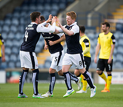 Raith Rovers Ryan McCord cele scoring their second goal from a penalty. <br /> Half time : Raith Rovers 2 v 0 Livingston, SPFL Ladbrokes Premiership game played 8/8/2015 at Stark's Park.