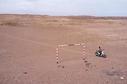 Soccer field, in desert, Ourzazate, Morocco