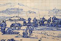 Chine, Macao, Azulejos de la Traversa do Meio, Praia Grande avec pecheurs de Georges Chinnery, 1837 // China, Macau, Tiles on the Traversa do Meio, Praia Grande with fishermen from Georges Chinnery, 1837