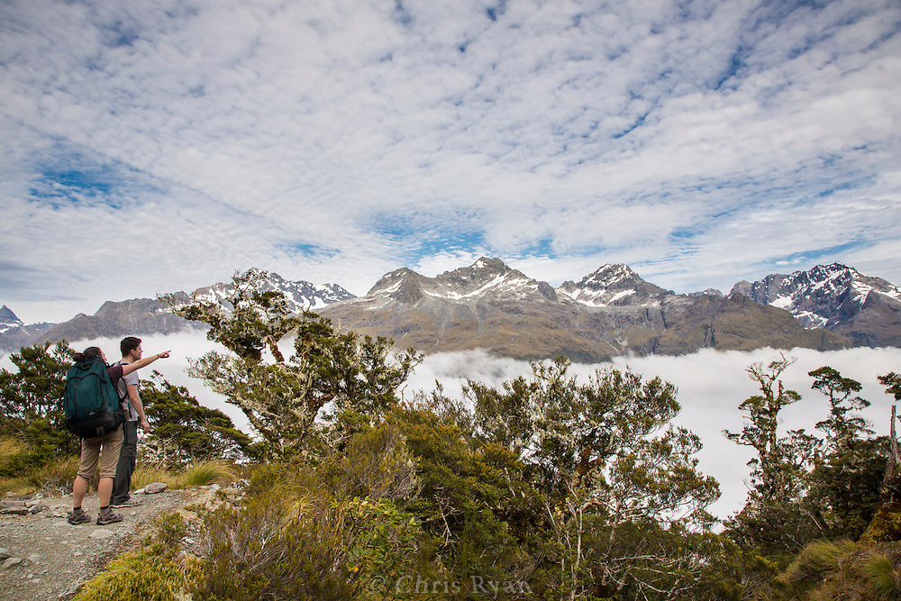 Hikers on the Routeburn Track, South Island, New Zealand