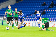 Cardiff City's Marlon Pack (21) is fouled by Birmingham City's Jon Toral (23) during the EFL Sky Bet Championship match between Cardiff City and Birmingham City at the Cardiff City Stadium, Cardiff, Wales on 16 December 2020.