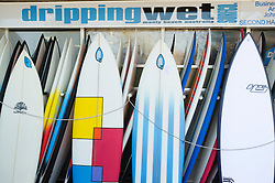 Surfboards for sale in shop at Manly Beach in Australia