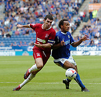 Photo: Kevin Poolman.<br />Leicester City v Southend United. Coca Cola Championship. 26/08/2006. Southend Captain Kevin Maher and Chris O'Grady fight it out for the ball.