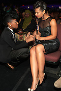 October 13, 2012- Bronx, NY: (L-R) Recording Artists Janelle Monae and Alicia Keys at the Black Girls Rock! Awards presented by BET Networks and sponsored by Chevy held at the Paradise Theater on October 13, 2012 in the Bronx, New York. BLACK GIRLS ROCK! Inc. is 501(c)3 non-profit youth empowerment and mentoring organization founded by DJ Beverly Bond, established to promote the arts for young women of color, as well as to encourage dialogue and analysis of the ways women of color are portrayed in the media. (Terrence Jennings)