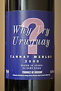 Bottle of Why Try Uruguay ? Tannat Merlot 2000, jocular funny humorous label made on the request of the UK importer. Bodega Carlos Pizzorno Winery, Canelon Chico, Canelones, Uruguay, South America